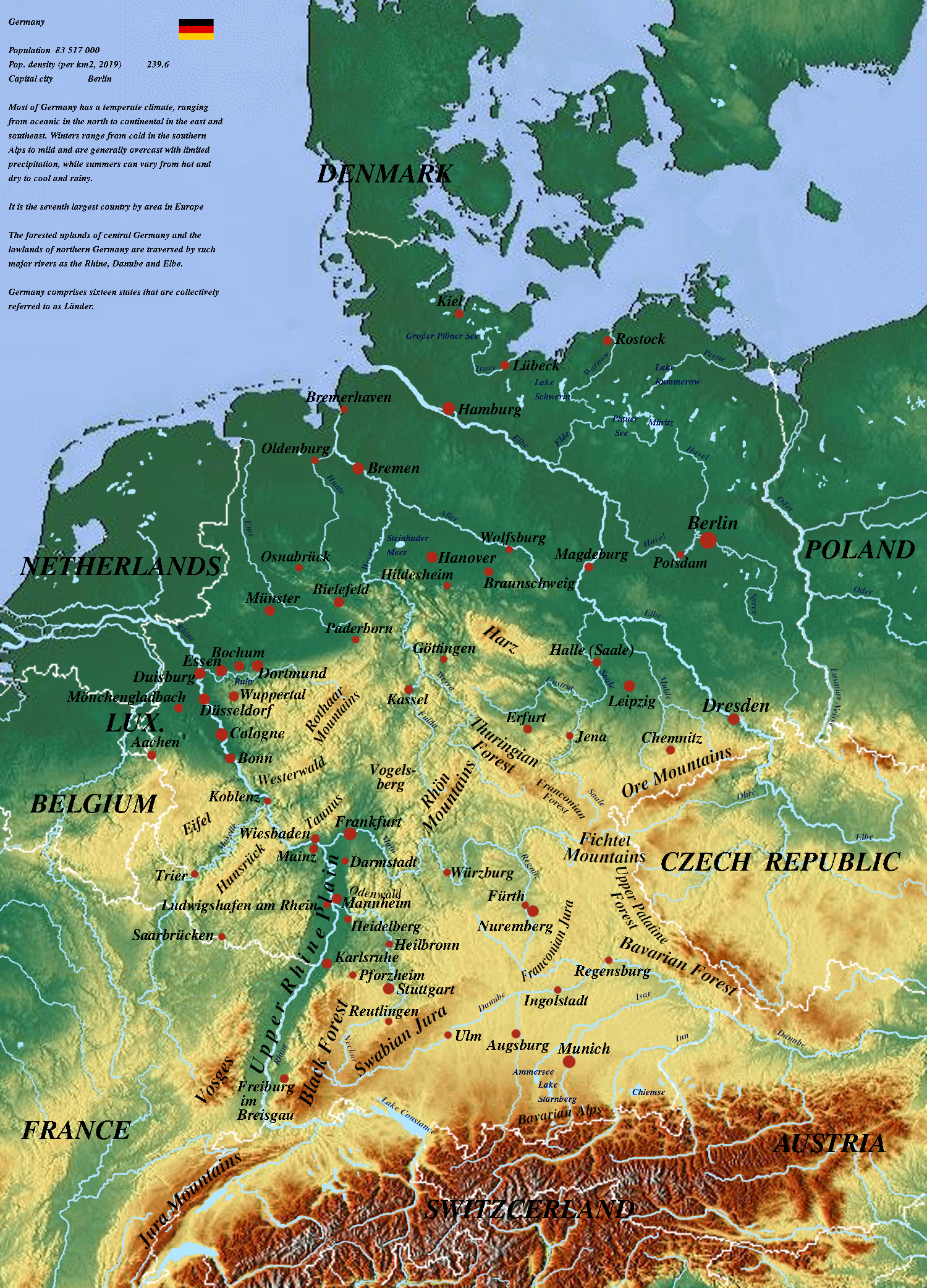 Physical Map Of Germany Germany physical map | physicalmap.org